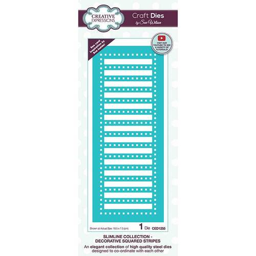 Creative Expressions Craft Dies - Slimline-Decorative Squared Stripes (By Sue Wilson)