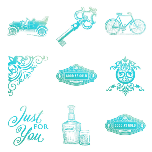 Couture Creations Gentleman's Emporium Mini Stamps - Choose from 9 Designs