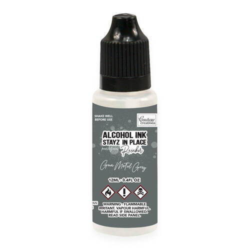 Couture Creations STAYZ IN PLACE Alcohol Ink Pad 12ml Reinker - Gun Metal Grey Pearlescent