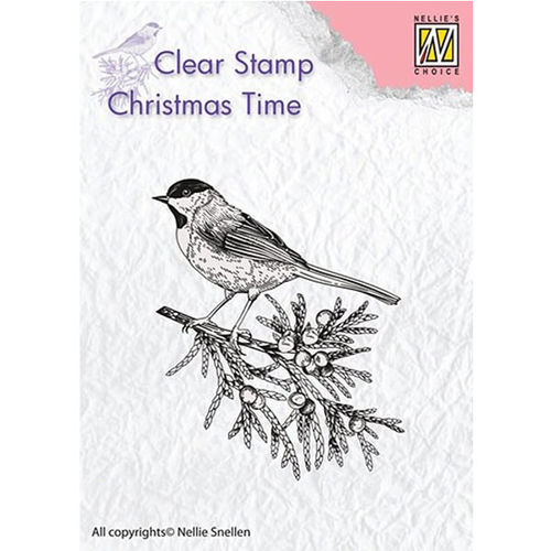 Nellie Snellen Christmas Time Clear Stamps - Conifer Branch with Bird CT023