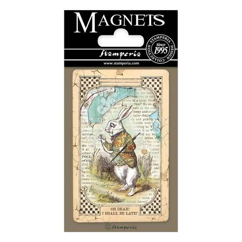 "Stamperia Magnet 2.25""x3.25""- White Rabbit, Alice EMAG014"