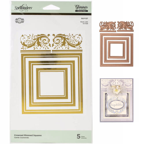 Spellbinders Amazing Papers Grace Glimmer Hot Foil Plate - Crowned Rimmed Squares GLP127