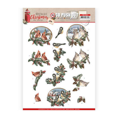 Amy Design Decoupage Nostalgic Christmas 3D Push Out - Christmas Birds SB10483