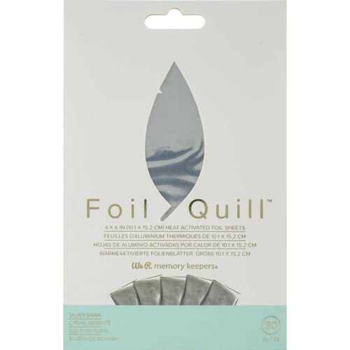"We R Memory Keepers Foil Quill Foil Sheets 4""X6"" 30/Pkg - Silver Swan"