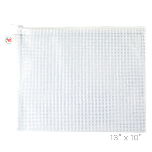 Avery Elle White Large Zippered Vinyl Mesh Pouch Z1904